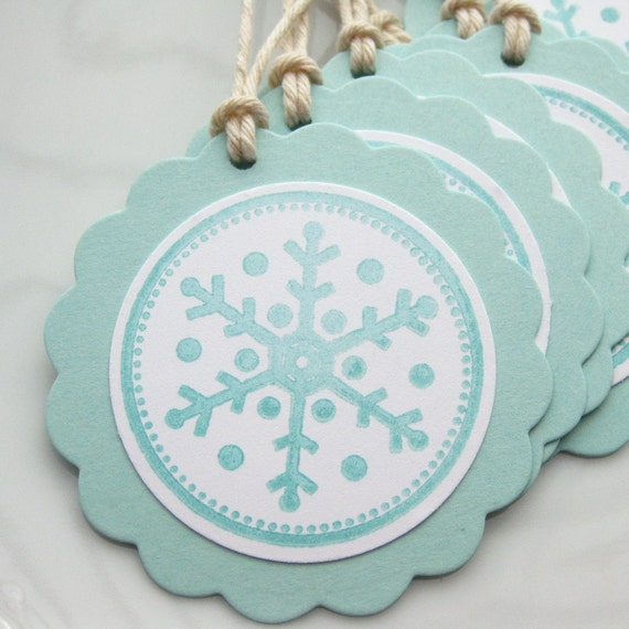 Simply Snowflakes Aqua - Set of 8 Gift Tags