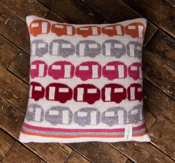 Happy Days -  caravan motif knitted cushion