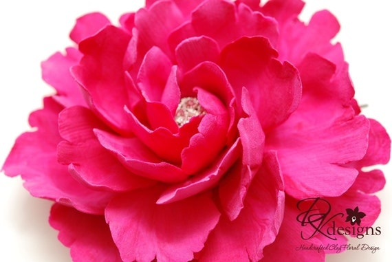 Made To Order - CLAYCRAFT by DECO Fuchsia Pink Peony Hair Flower with Rhinestone Center