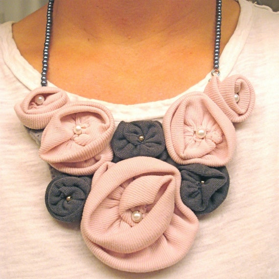 Recycled T Shirt Flower Bib Necklace - Pink and Grey