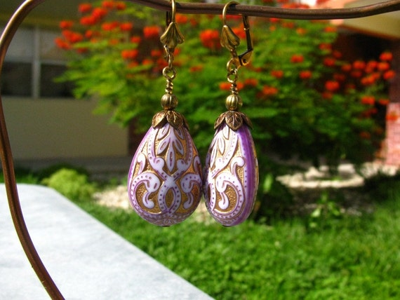Lavender Purple Brocade Pear Earrings by bajunajewelry on Etsy from etsy.com