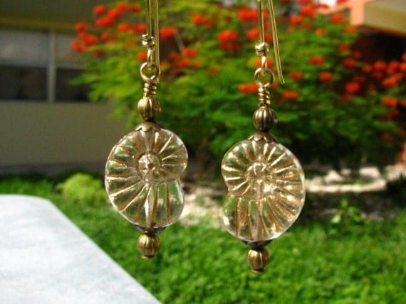 Golden Nautilus Ammonite Earrings by bajunajewelry on Etsy from etsy.com