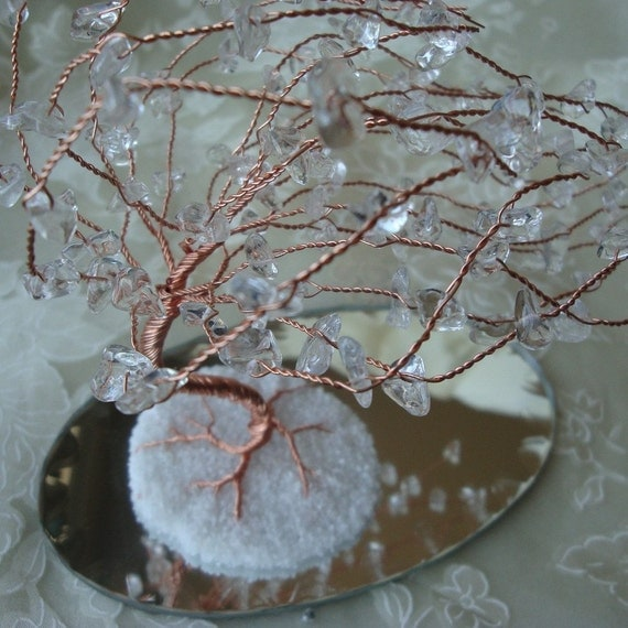 FREE SHIPPING - Diamond Blazed Windswept Wire Tree Sculpture