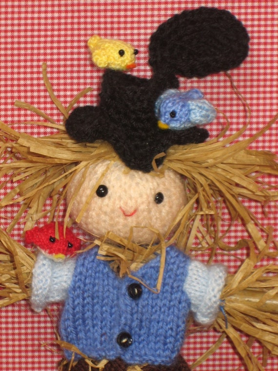Lovely SCARECROW with Little CUTE BIRDS PDF Email KNIT PATTERN