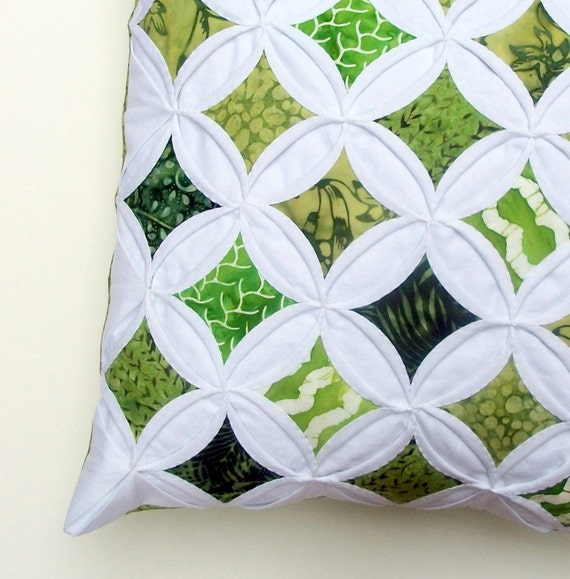 Summer Greens Batik Cathedral Window Pillow Cover - 18 Inches