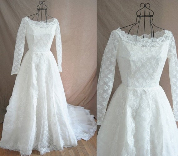 vintage 50s Alfred Angelo Couture Ivory Lace Illusion Princess Full Length Bridal Wedding Ball Gown Sz S