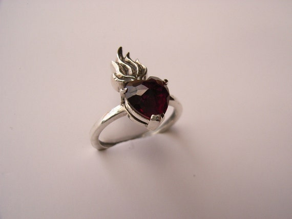 Sterling silver sacred heart ring with set heart stone