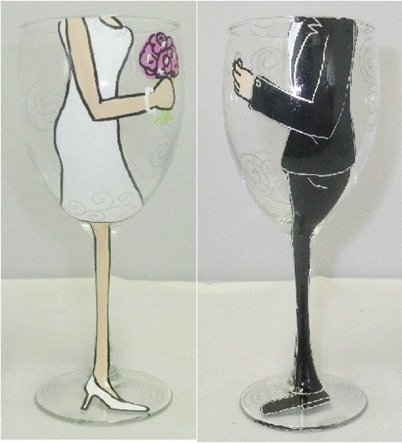 Bride and Groom Hand Painted Wine Glass - 2 Glasses