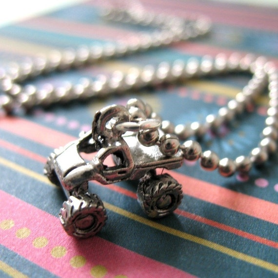 Mudding - 4-Wheel Monster Truck Charm Necklace.