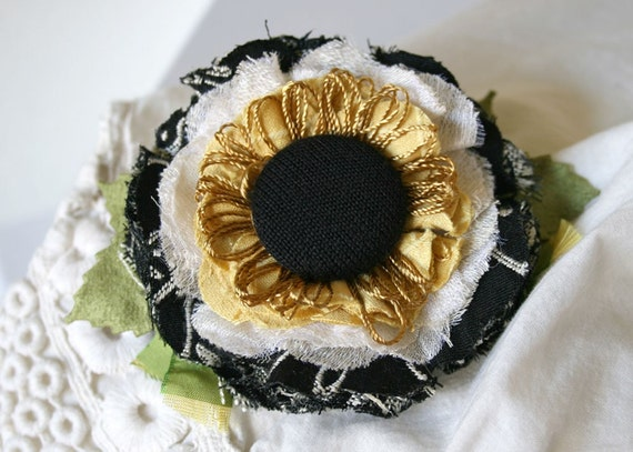Sunflower Hair Barrette Flower Fascinator Yellow and Black