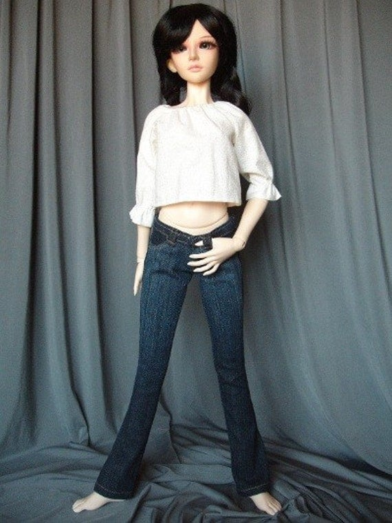 Jeans and peasant top for SD-sized BJDs