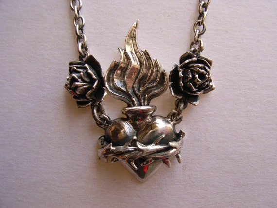 Sterling Silver Sacred Heart with Roses Necklace