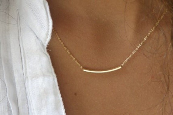 The Sterling Bar OR The Golden Bar - Very Elegant and Delicate Necklace- By Simag