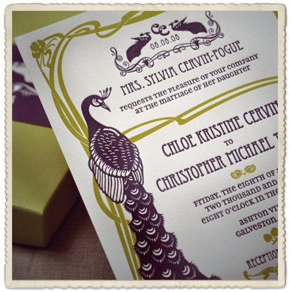Letterpress Wedding Invitation Art Nouveau Peacock Design From HelloandCo