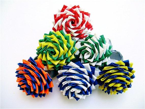 Плетение цветов лент