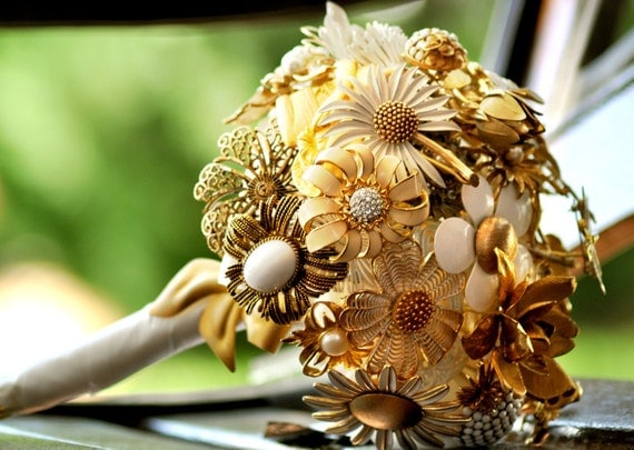 Wedding Brooch Bouquet - Elegant Gold and White Flowers with Rhinestones and Butterfly
