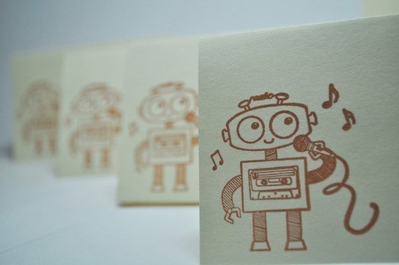 Ridiculously Cute Singing Robot- handstamped Mini  blank cards( Set of 8) by LittlePinkKangaroo