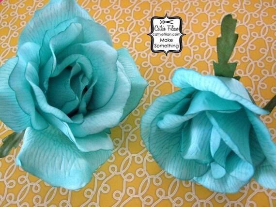 2 Шелковые Розы - бирюзовый - Дамских, Измененные Couture, волос Цветы, Шелковый