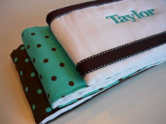 Brown and Blue Personalized Burp Cloths