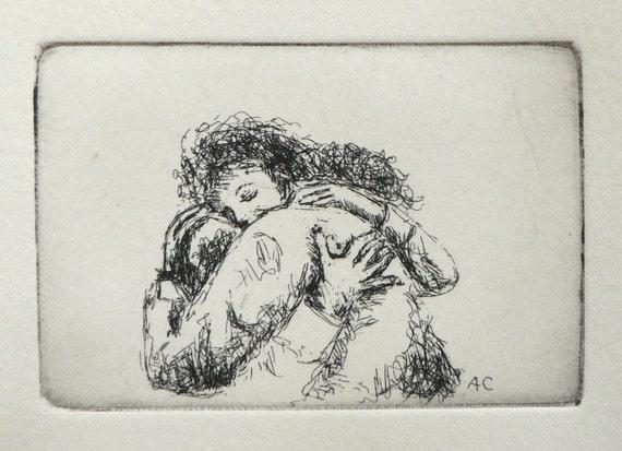 give someone a hug - original etching