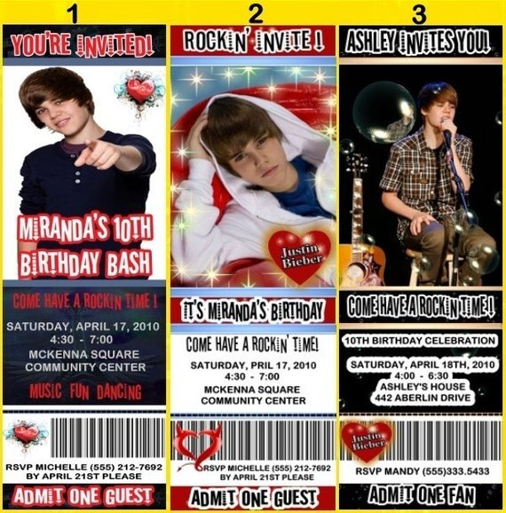 justin bieber birthday party invitations. JUSTIN BIEBER Personalized