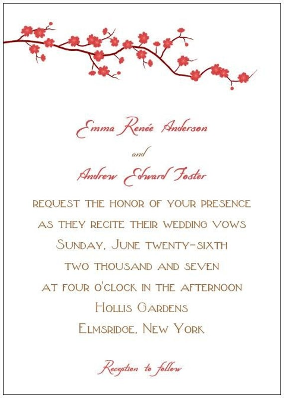 Red Cherry Blossom Wedding Invitations Sample From Whimsicalprints