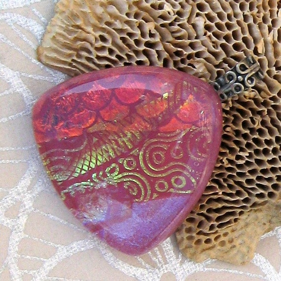 Electric Pink Fused Dichroic Glass Pendant