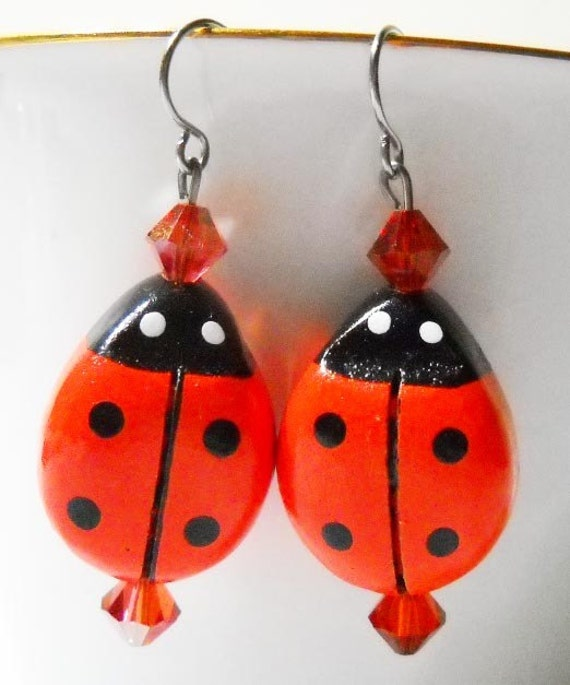 Deep Orange Wood and Crystal Ladybug Earrings