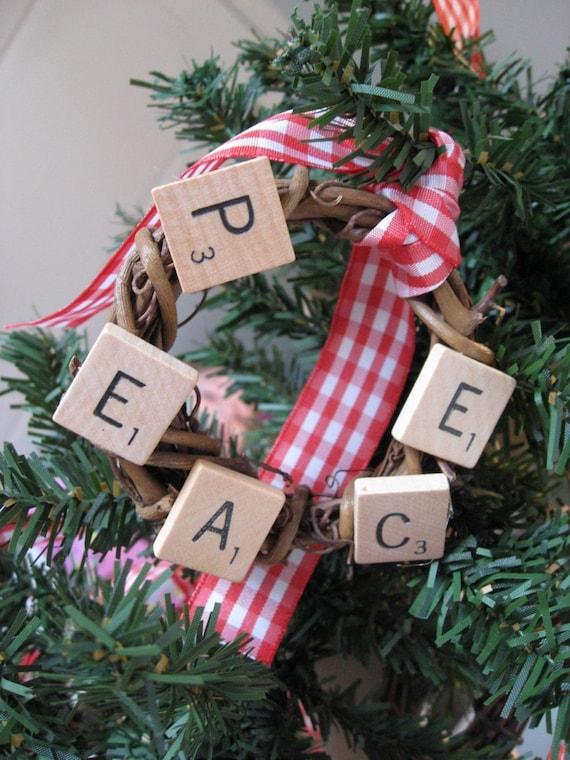 Scrabble Tile Grape Vine Wreath Tree Ornaments - Love