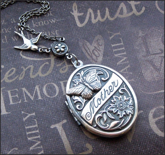 Silver Locket Necklace - Enchanted Mother's Butterfly Garden - Handmade by TheEnchantedLocket