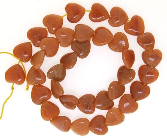 Red Jade Heart Beads Gemstone Strand 12mm