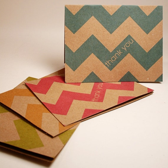 Kraft Chevron Thank You Cards (Set of 4)