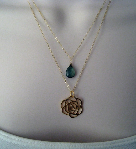 Rose charm double strand necklace--emerald green quartz