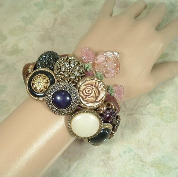 Shimmering Pendants Vintage Button Bracelet