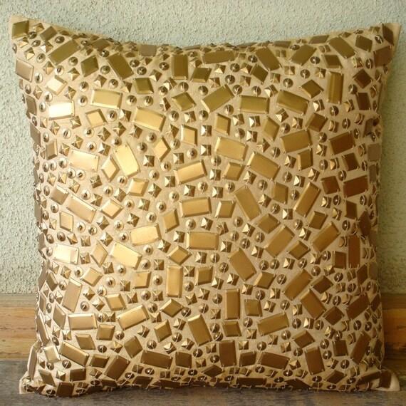 Мелодрама - Бросьте наволочки - 16х16 дюймов Шелковый Чехол с 3D блестками золота