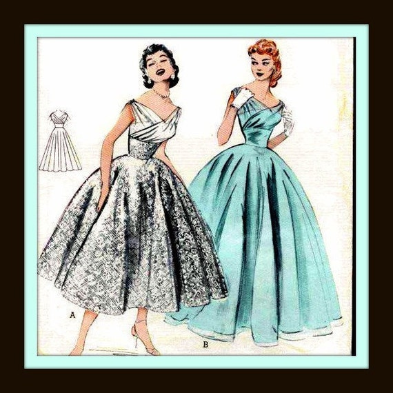 1950s Surplice Gown with Fitted Midriff and Tea-Length Skirt - 6810 - listing is for all sizes