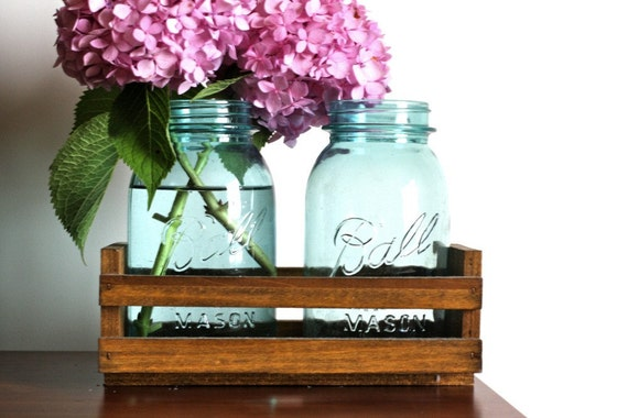 Set of Two Quart Sized Aqua Blue Ball Mason Jars