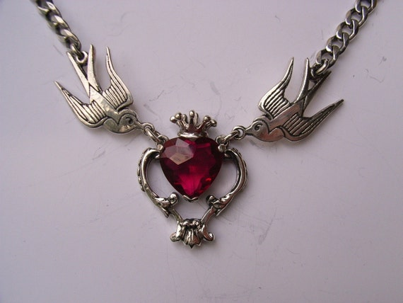 Sterling Silver Swallows and Baroque Design Necklace with Cubic Zirconia