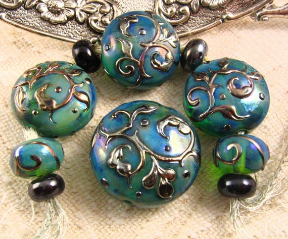 Kerribeads Lampwork Silver Blue Green Tapestry Button Set