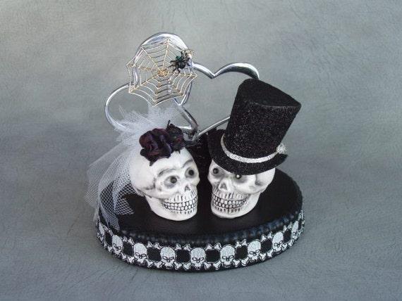SKULL Bride and Groom ETERNAL LOVE Wedding Cake Topper