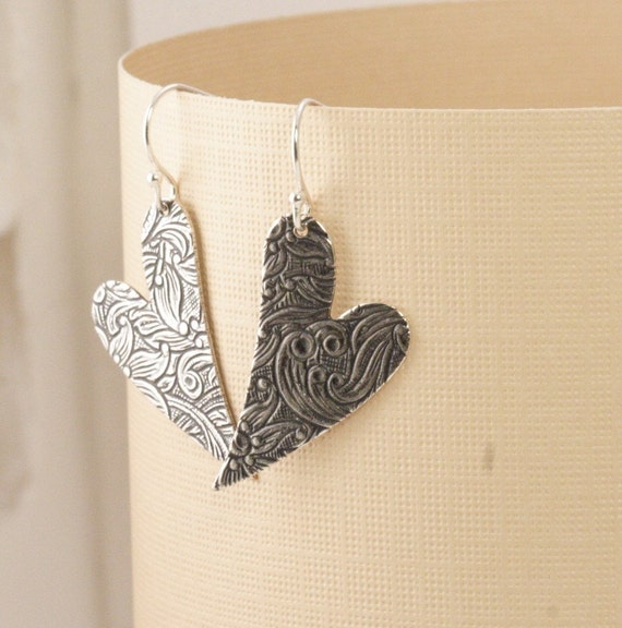 Together Forever Floral Engraved Heart Earrings - Perfect valentines Gift