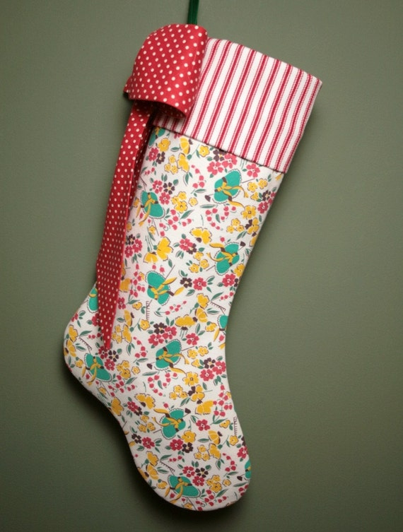 Sweet Vintage Feedsack Christmas Stocking - Garden Hats and Flowers
