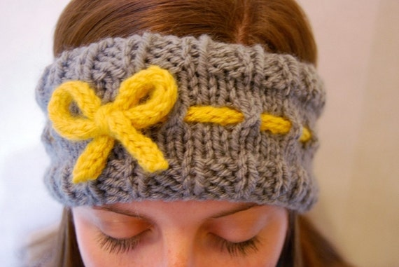 Knit Headband - Grey with Yellow Bow