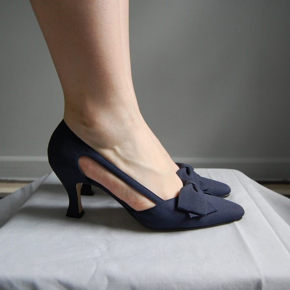 60s NAVY BLUE BOWS corde pumps 8N
