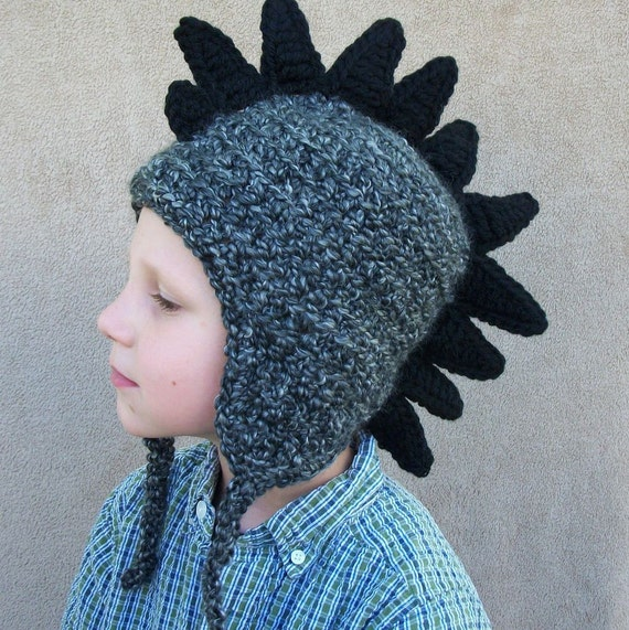 5 to Preteen Dragon Hat in Charcoal with Black Spikes