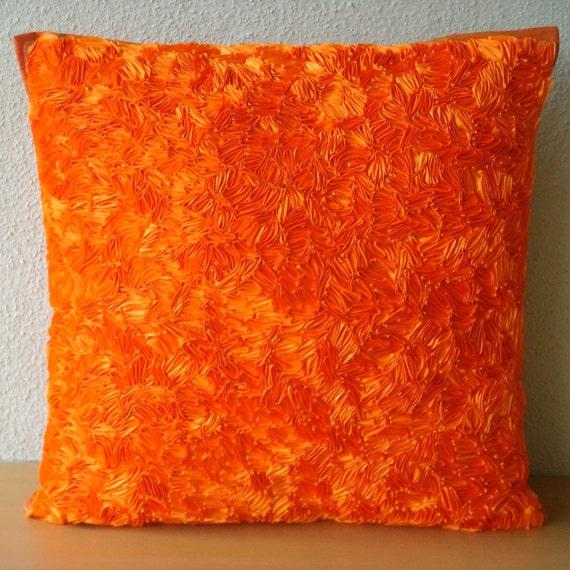 Orange Peel - Бросьте наволочки - 16х16 дюймов Шелковый Чехол с атласной лентой Вышивка