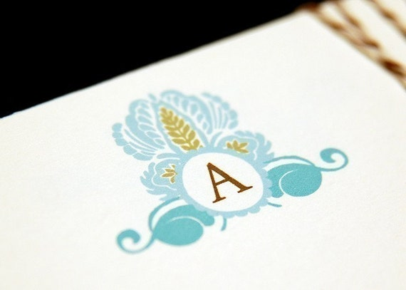 Set of 20 Personalized Initial Shabby Chic Flat Note