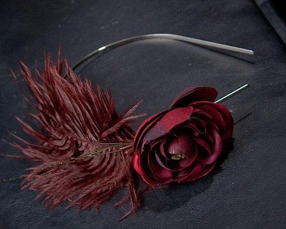 Elizabeth - RED Feather and Flower Headband/Red Flower Headband/Deep Red Flower Headband/Feather Headband/Jane Austen/Photo Prop/Elizabeth Bennet/Pride and Prejudice