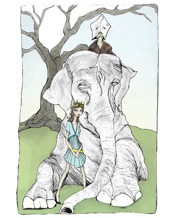 Josette and the Elephant King 8inx11in Art Print