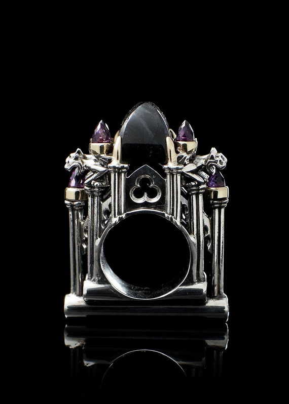 Cathedral Ring with Central Labrodorite Stone